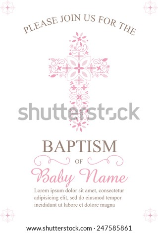 Pink Girl's Baptism/Christening/First Communion/Confirmation Invitation with Cross Design - Vector  - stock vector