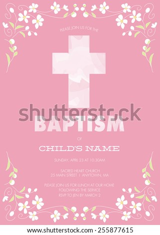 Pink Girl's Baptism/Christening/First Communion/Confirmation Invitation with Watercolor Cross and Floral Design � Vector - stock vector