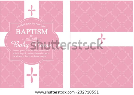 Pink girls baptism christening invitation quatrefoil background pink girls baptismchristening invitation with quatrefoil background vector stopboris Images