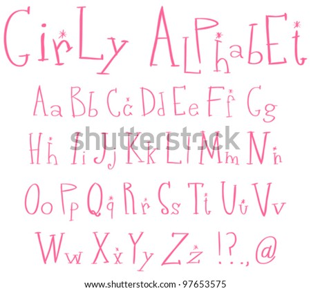 Pink girly alphabet - stock vector