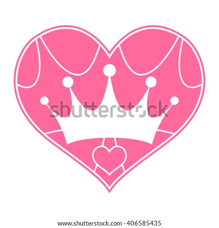 Pink Girly Princess Royalty Crown with Pink Love Hearts vector logo