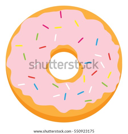 Pink glazed ring donut with colorful sprinkles. Vector illustration