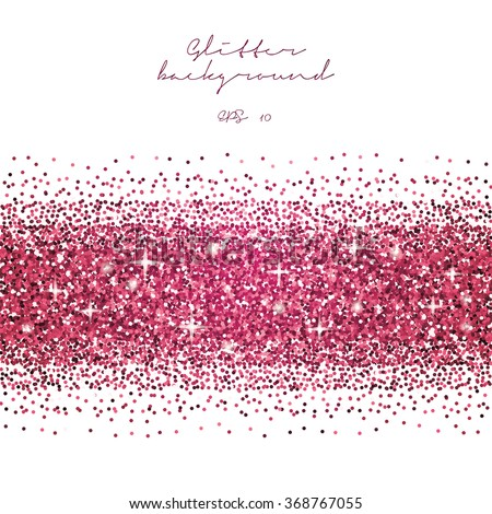Pink glitter border background. Tinsel shiny backdrop. Luxury gold template. Vector - stock vector