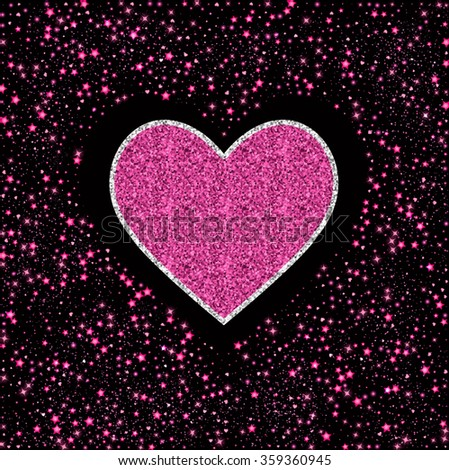 Pink glitter heart card. Valentine card concept. Vector illustration - stock vector