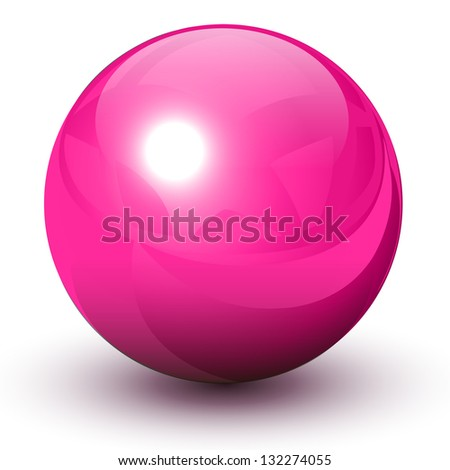 Pink glossy sphere - stock vector