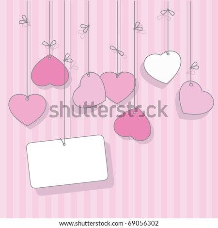 Pink greeting card for Valentine's Day - stock vector