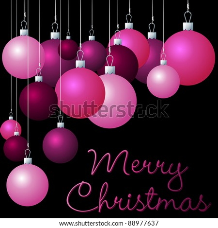 Pink group of Christmas baubles in vector format. - stock vector