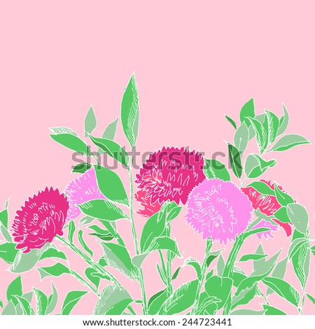Pink hand drawn aster flowers horizontal seamless pattern, vector - stock vector