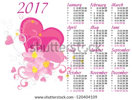 pink heart and flowers love spring 2017 calendar