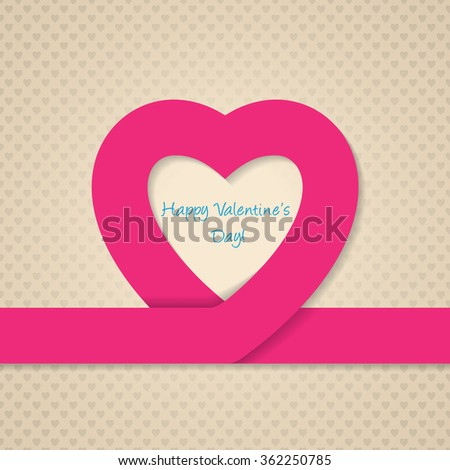 Pink heart ribbon valentine day greeting card with heart texture background - stock vector