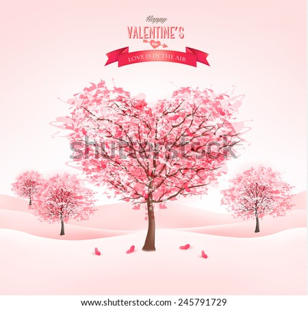 Pink heart-shaped sakura trees. Valentine's day. Vector. - stock vector