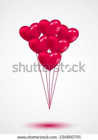 Pink heart Valentine balloons background colorful illustration - stock vector