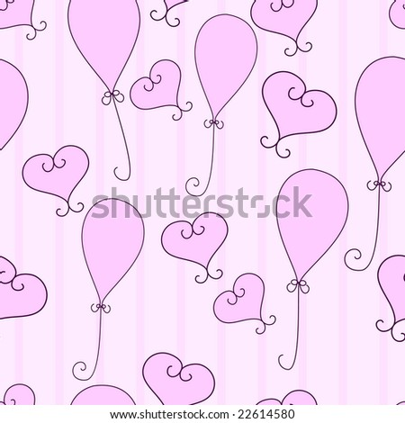 Pink hearts and balloons seamless pattern