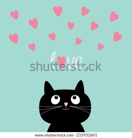 Pink hearts and cute cartoon cat. Flat design style. Vector illustration - stock vector