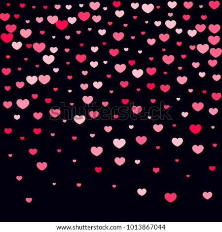 Pink Hearts Confetti Falling On Black Background Valentines Day Pattern Romantic Scattered Design