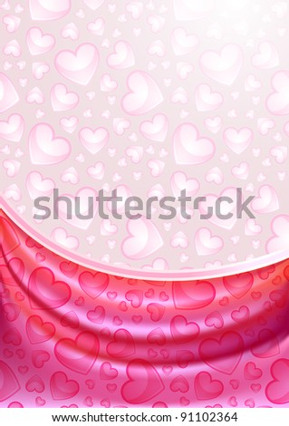 Pink hearts curtain, silk tissue, gradient mesh, eps10.