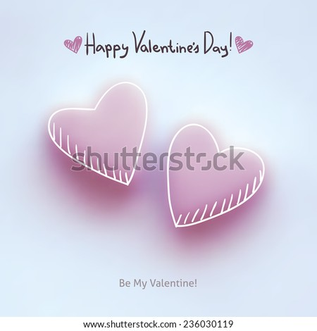 pink hearts on white, vector background for valentine's day - stock vector