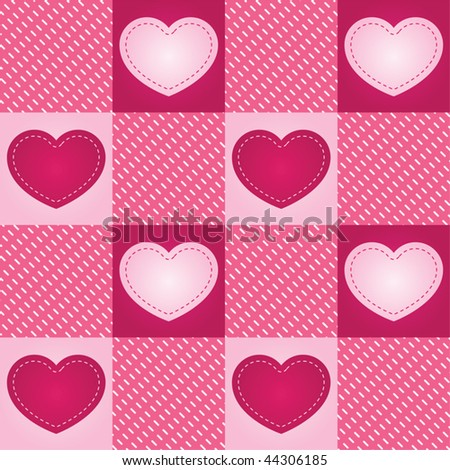 "Pink hearts ""stitched"" onto a seamless checkered background - stock vector"