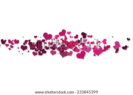 Pink hearts with white background. pink hearts on a white background