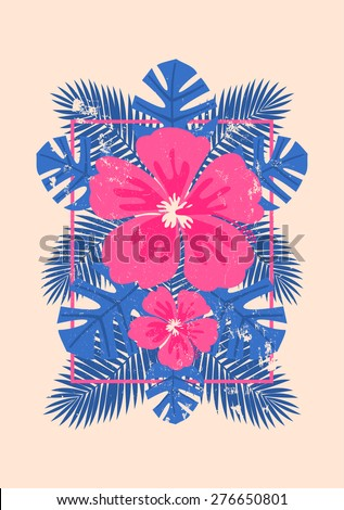 Pink hibiscus flowers and blue palm leaves exotic summer composition. Modern poster, card, flyer, t-shirt, apparel design. - stock vector