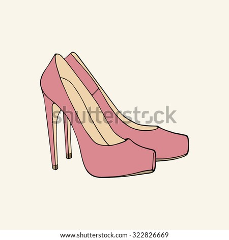 Pink high-heeled shoes