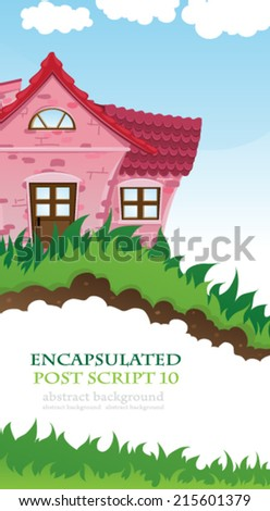 Pink house with a tiled roof on a green meadow. Rural landscape - stock vector