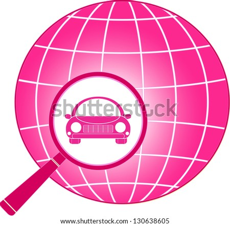pink icon with planet, magnifier and car from woman - stock vector