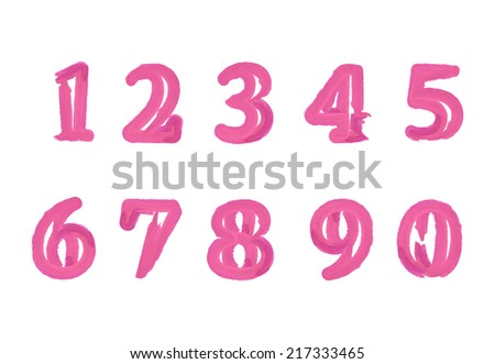 Pink ink numbers set. Handwritten watercolor symbols. Vector illustration.
