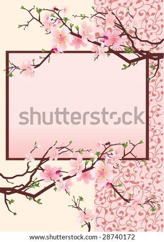 pink japan cherry blossom frame on flourishes background vector honeysuckle color - stock vector