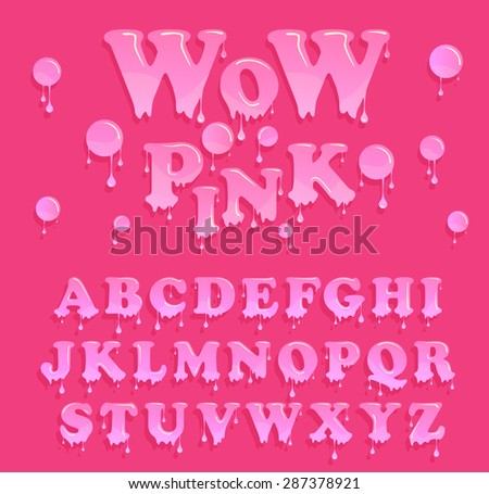Pink jelly alphabet. Glossy letterhead design. Vector candy letters - stock vector