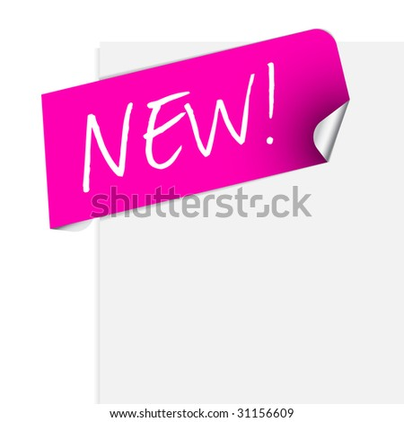 Pink label for some new product / info on the page - stock vector