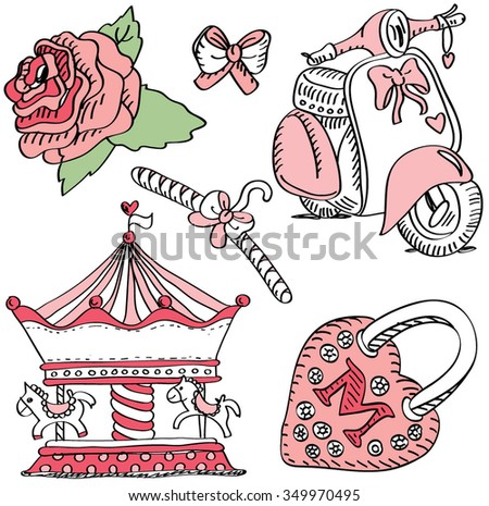 Pink labels for girls: merry-go-round, bike, lock, flower and bow. - stock vector
