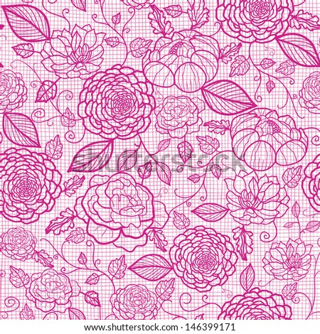 Pink lace flowers seamless pattern background - stock vector