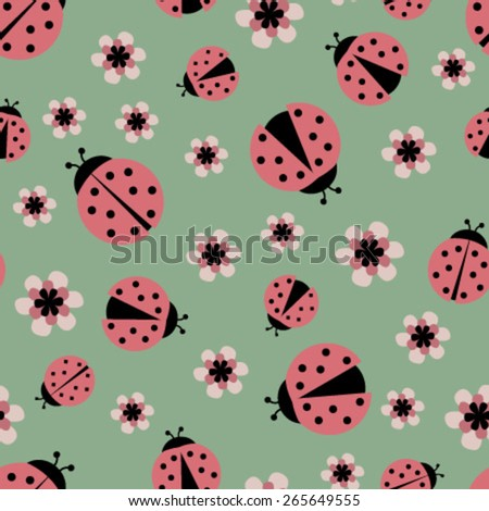 pink ladybugs on green seamless pattern - stock vector
