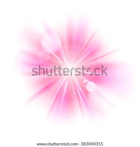 Pink light sunburst background. Vector star burst glow shine with sparkles  illustration. - stock vector