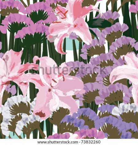 Pink lilies and purple Myosotis sylvatica flowers, watercolor, seamless patterns, soft color floral patterns, vector - stock vector