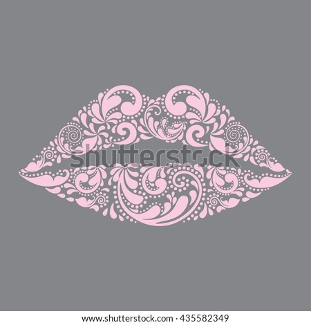 Pink lips vector. Fashion and beauty. Print for T-shirt. Isolated object. Symbol, icon. Painted floral pattern.