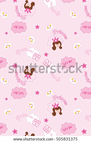 Pink Little Princess Pattern Vector. Sweet Girl Background For Template  Birthday Card, Baby Shower