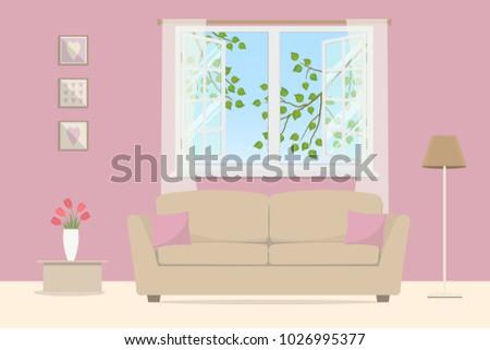 Pink Living Room Beige Sofa Pillows Stock Vector (2018) 1026995377 ...