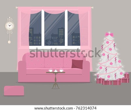 Pink Living Room Decorated Christmas Decorations Stock Vector ...