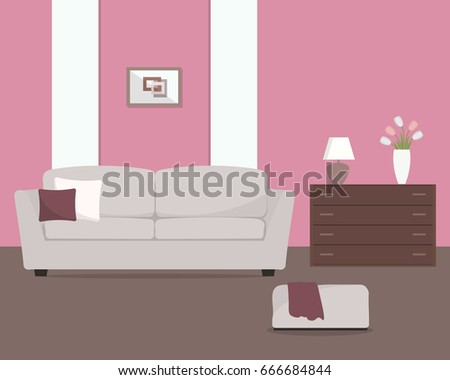 Pink Living Room Gray Sofa Armchair Stock Vector 666684844 ...