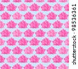 Pink Lotus Flower Seamless Pattern. Floral Texture on Light Blue Background - stock vector