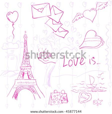 pink love vector symbols - stock vector
