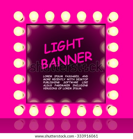 Pink mirror with lamps, Light fashion banner, Retro looking presentation design element square frame glowing with lamps, Vector illustration - stock vector