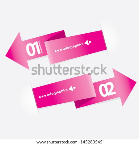 Pink modern Design template / can be used for infographics / numbered banners / horizontal cutout lines / graphic or website layout vector