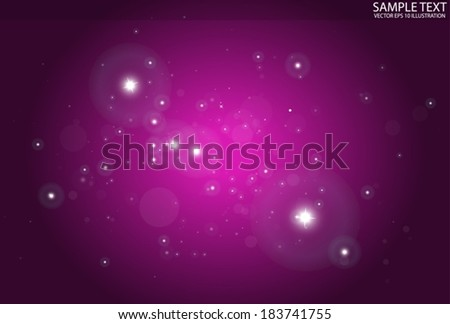 Pink nebula space vector background illustration - Vector shiny glitters in  pink space background illustration - stock vector