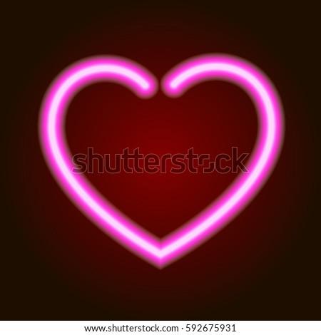 Pink Neon Glowing Heart Symbol Love Stock Vector 592675931