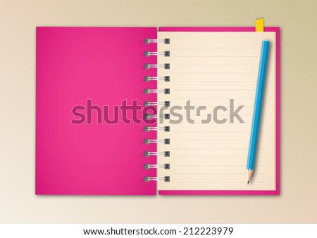 Pink Notebook Vector - stock vector