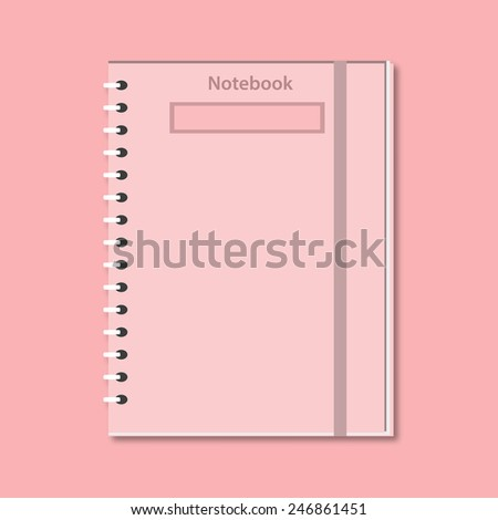 pink office notebook on background - stock vector