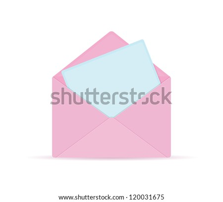 Pink Opened Envelope with Blue Paper Sheet and Place for Text - stock vector